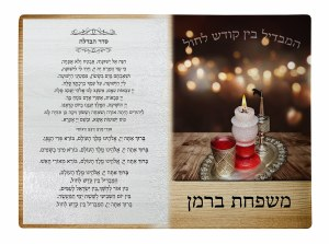 "Personalized Glass Havdallah Tray Displaying Havdallah Text Wood Pattern Design 11"" x 15"""