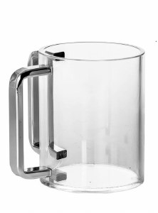 Lucite Wash Cup Round Cup Silver Handles