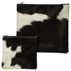 Tallis and Tefillin Bag Set Fur Brown White Cow Hide Design
