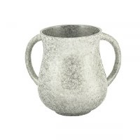 Wash Cup Metal Silver Colored Marble Design by Yair Emanuel