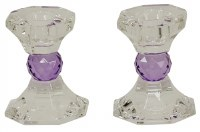 Crystal Candle Sticks Purple Jewel Design 3.25""