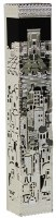 Mezuzah Case with Silver Colored Lazer Cut Metal Jerusalem and Beis HaMikdash Design 15cm