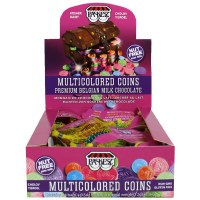 Box of Multicolored Milk Chocolate Chanukah Coins Contains 24 Bags