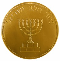 Milk Chocolate Chanukah Large Medallion Gold Wrapper 1 Piece