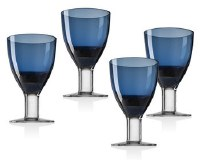 Crystal Goblets Blue Colored Set of 4 13.5oz