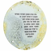 """Lucite Round Birchas HaBayis Wall Hanging Hand Painted Artwork 16"""""""