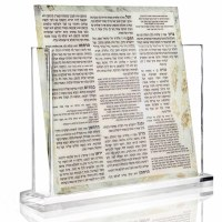Lucite Bencher Holder Clear Base Includes Set Of 8 Painted Lucite Birchas Hamazon Cards Ashkenaz