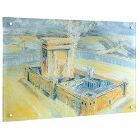 """Lucite Bais Hamikdash Wall Hanging Hand Painted Artwork Gold 20"""" x 30"""""""