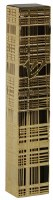 Mezuzah Case with Gold Colored Lazer Cut Metal Plaid Design 15cm