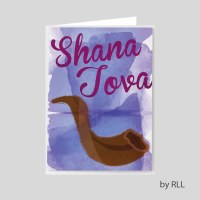 Jewish New Year Package Card Set Shofar Design 8 Count