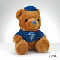 """Happy Chanukah"" Teddy Bear with Plush Draydel"
