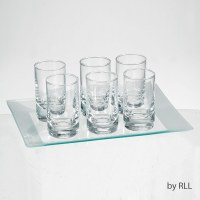 Glass L'Chaim Cordial Set of 6 Shot Glasses with Tray