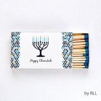 Chanukah Long Matches in Rectangular Gift Box Menorah Design 50 Count