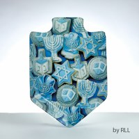 Dreidel Shaped Chanukah Cookies Design Glass Serving Tray