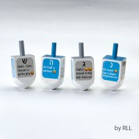 "Wood Dreidels ""Texting"" Theme Set of 4"