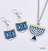 Dreidel Earrings and Menorah Necklace Set