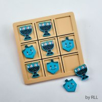 Chanukah Theme Wooden Tic Tac Toe Game