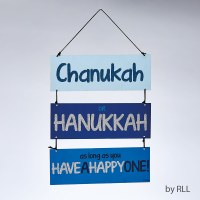 Chanukah Sign 3 Tiered Blue Painted with Glitter Accents