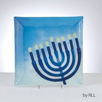Chanukah Menorah Design Square Glass Serving Tray