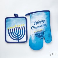 Sapphire Collection Hostess Set Contains Pot Holder and Oven Mitt Chanukah Design