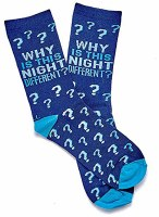 Passover Adult Crew Socks Why is this Night Different Design Fits Shoe Size 8-12