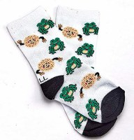 Passover Kids Crew Socks Frogs and Matzah Balls Design Fits Shoe Size 1-5