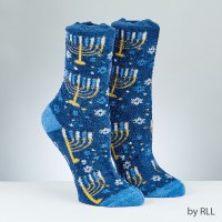 Chanukah Slipper Socks Menorah Design