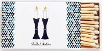 Long Matches for Shabbos Blue Candlestick Desgin 50 Count