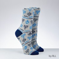 Chanukah Crew Socks for Adult Happy Chanukah Design Size 10-13