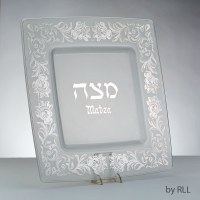 Square Glass Matzah Tray Featuring Silver Floral Design