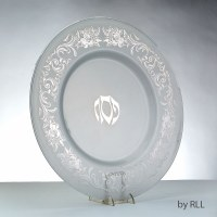 Glass Round Seder Plate Featuring Silver Floral Border Design