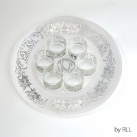 Glass Seder Plate Including 6 Glass Liners Silver Floral Design