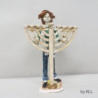 "Porcelain Candle Menorah Boy Holding Menorah Design 10"""