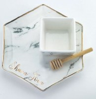 Porcelain Apple and Honey Hexagon Shaped Dish Set Marble Design with Wooden Honey Dipper