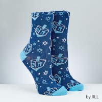 Chanukah Lurex Crew Sock Dreidel Design Adult Size 10-13