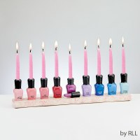 Candle Menorah Hand Painted Ceramic Nail Polish Design