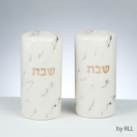 Ceramic Salt and Pepper Shaker Set Marble Design Gold Accent