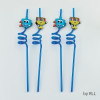 Chanukah Straws Dreidel and Menorah Design 4 Pack