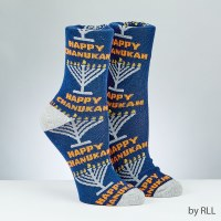 Chanukah Crew Socks Rambam Menorah Design Adult Size 10-13