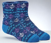 Chanukah Crew Socks Dreidels and Happy Chanukah Design Youth Size 1-5
