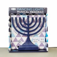 Plastic Menorah Dancing Lights Musical Theme Battery Or USB Operated Navy