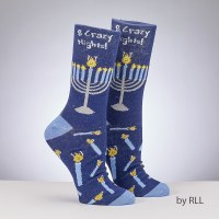 Chanukah Crew Socks Eight Crazy Nights Design Adult Size 8-12