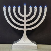 Plastic Menorah Dancing Lights Musical Theme Battery Or USB Operated Silver