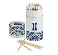 Long Matches for Shabbos Blue Candlestick Design Gift Box 60 Count