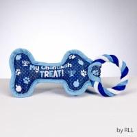 Chewdaica Chanukah Bone Squeaky Dog Toy