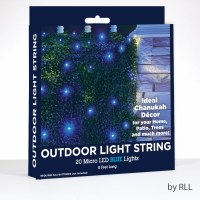 Outdoor String Light 20 Micro LED Blue Lights 8'