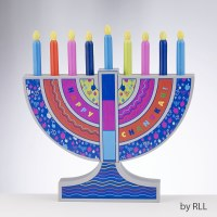 My Play Wood Menorah Child Play Set With Removable Wood Candles