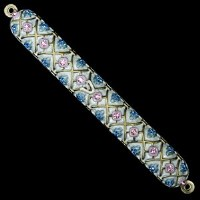 Mezuzah Case Jeweled Enamel Pastel Colored Diamond Shaped Design 15cm