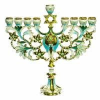 "Menorah Enamel Bejeweled Turquoise Flowered Magen David Branches 7"""