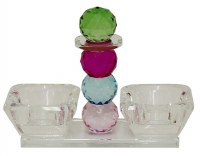 Glass Salt and Pepper Open Holder Set Green and Pink Crystal Balls Design